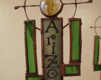 Stained Glass Saguaro Cactus Ornament