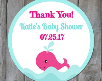Personalized Whale Themed Baby Girl Shower Favor Stickers - Pink & Blue Nautical Shower Favor Labels - Buy 3 Get 1 Free