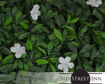White Cuckoo Flower Greenery Panels - Outdoor Artificial Plant - Great Boxwood and Ivy Substitute - Sound Diffuser Privacy Fence Hedge