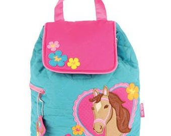Stephen Joseph Quilted Backpack Horse Theme Monogrammed School Backpack