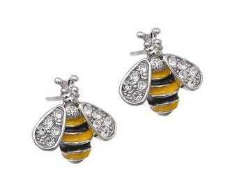 Bee Rhinestone Post Earrings Bumble Bee Earrings Honey Bee Earrings