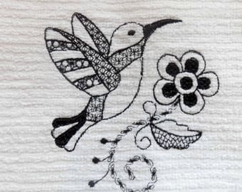 Hummingbird and Flower Embroidered Ribbed Kitchen Bar Mop Towel Choice of Color