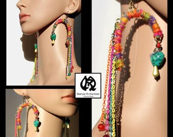 Earrings earhook fantasy style multicolor multicolor tassels