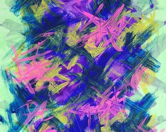 "Pink, Blue, Yellow, Black, Green Original Acrylic Abstract Painting on Canvas ""Series 2 XXX"" 16x20"" Wall Art Decor"