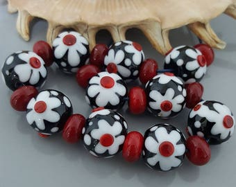 Summer Flowers Handmade Glass (Lampwork) Bead Set - 10 Beads + 11 Spacers