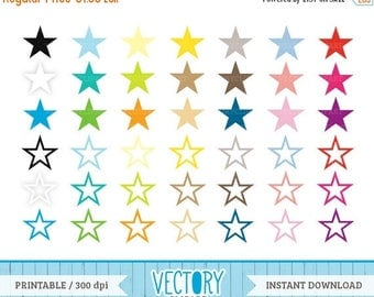 SALE 40%OFF 42 Star Clipart in Multiple Colors, Commercial Free Star Images in Large PNG Files, Star Clip Art With Transparent Background by