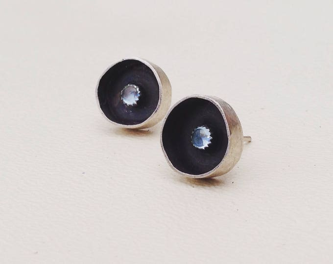 Blue Topaz and silver stud earrings