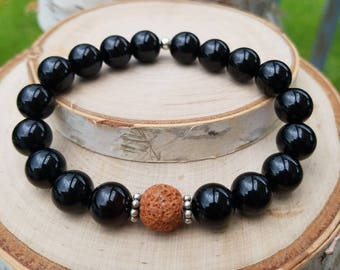 Diffuser Bracelet-Black Onyx-Lava Bead-Orange-Sterling Silver-Stretchy-One Size Fits Most-Aroma Therapy-Essential Oils-Stackable-Unique-Gift