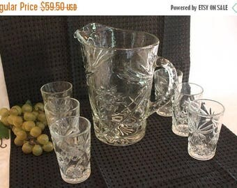 Summer Sun Sale Anchor Hocking Clear Prescut Glass Large Water Pitcher and 6 Small Tumblers or Juice Cups in Excellent Condition