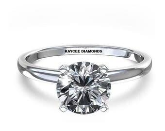 SALE!! 0.50 Carat Ideal Cut Round Brilliant Genuine Diamond Solitaire Engagement Ring