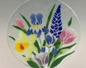 Spring Flowers Suncatcher, Iris, Tulip, Daffodils, Fused Glass, Glass Flowers, Floral Decor