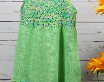 Bright green jumper, toddler sleeveless dress, sundress, cotton handknit girls dress, 18-24 month, 2T dress