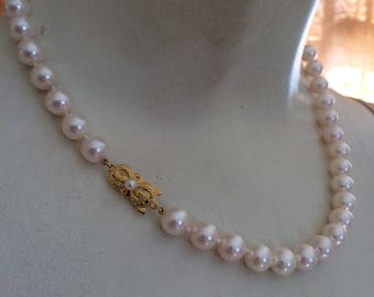 "Vintage Estate Mikimoto 8-8.4mm 18"" Cultured Pearl Necklace in red velvet box 18K YG M Clasp"