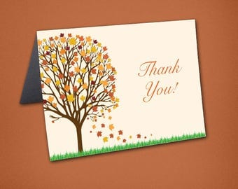 Fall Wedding Thank You Cards • Fall Tree Thank You • Bridal Shower Thanks • Wedding Thank You Card • Fall Colors • Thank You Card • Fall