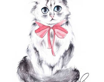 Cat print, Cat illustration, Cat portrait, Custom Cat Portrait, Cat art, Cat lover gift, Cat decor, Cat wall art, Cat painting, Cat prints