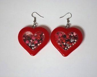 Shaker Charm , Heart Earrings, Red Earrings, Red Jewelry, Unique Earrings, Unique Jewelry, Alternative Earrings, Alternative Jewelry, Sister
