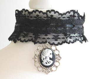 Gothic Zombie Skeleton Bride Cameo Choker  - Gothic Wide Black Lace Choker Necklace - Sanguine Rose Designs