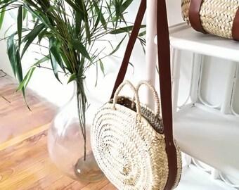 Moroccan oval basket with palm leaves, round basket, basket bag
