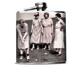 Women's Golf Tournament, Premium Hip Flask, Whiskey Flask for Her, Gift for Girlfriend, Vintage Women Golfing