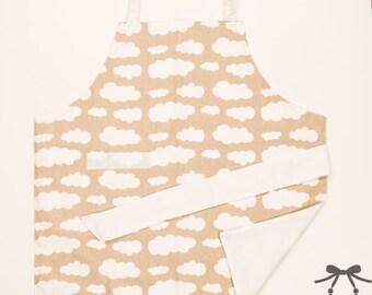 Montessori apron, Kids apron, Children apron, Fits 1.5 - 5 years, Clouds + white cotton lining