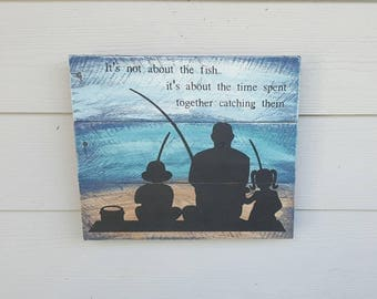 Father's Day Sign - Fishing Sign - Father Son Silhouette - Gift for Him - Rustic Fishing Sign - Fishing Gift - Pallet Sign - Fishing Decor