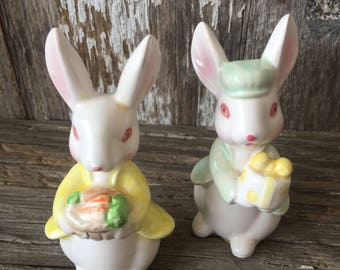 Pair of Ceramic, hand painted Bunny, Rabbit, Figurines, Japan