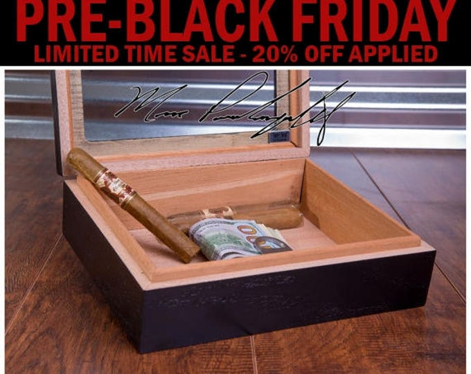 Fathers Day Cigar Box, Dad Cigar Humidor, Personalized Cigar Box, Cigar Storage, Glass Top, Groomsmen Best Man Gift, Engraved, Mens Man Gift