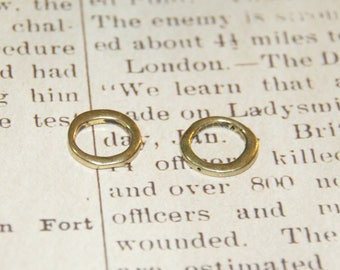 2 beads rings antique gold metal 17x2mm