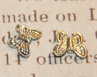 5 beads 8x10mm silver metal Butterfly