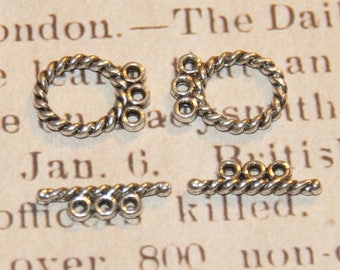 2 clasps, toggles 3 rows of metal silver 16 x 12, 5mm