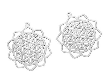 2 charms filigree flower of life (1) silver-plated 30x26mm
