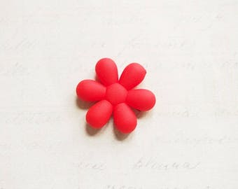 Large red 25x6mm sweet gum flower bead