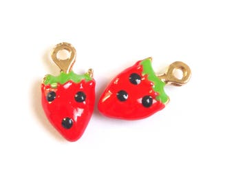 2 charms enamel Strawberry red/green/black and goldtone 18x10mm