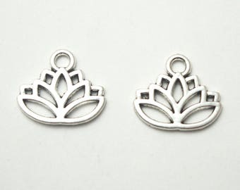 2 charms 17x14mm silver lotus flower