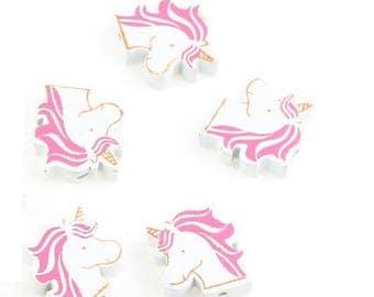 2 beads Unicorn wooden white / pink 20mm