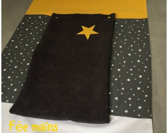 On order: cover changing mat in mustard yellow cotton print grey white star