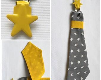 Pacifier clip tie in gray cotton fabric white stars
