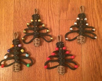 Paracord Christmas Trees, Set of 4