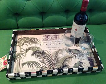 Handpainted Designer Black / White Check LARGE Wood TRAY with TROPICAL Design Interior!!