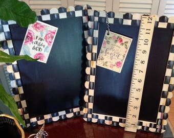 DARLING Hand Painted Designer Black / White CHECK Wood 12x10 Easel CHALK Board!!