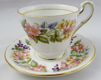 "Paragon ""Country Lane"" Flower Demitasse, Vintage Bone China, Tea Cup and Saucer"