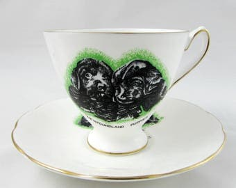 Vintage Tea Cup and Saucer with Newfoundland Puppy Dog by Elizabethan, Bone China, Gift for Dog Lover, Birthday Gift, Puppies