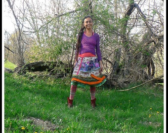 flowery patchwork summer skirt