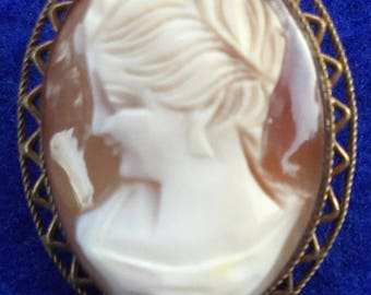Victorian Carved Shell Cameo Brooch and Pendant in Oval Gilt Frame