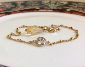 Citrine Gemstone & Bezeled CZ Dainty Chain Bracelet. 14k Gold Filled Satellite Chain. Genuine Gemstone. Wire Wrapped Handmade Bracelet