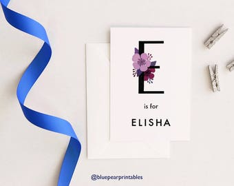 Elisha Baby Shower Card Baby Girl Name Sign Floral Greeting Card Floral Wall Art Floral Lettering Personalized Room Decor Kids Wall Art