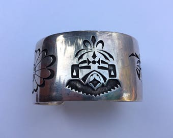 Sterling Silver Hopi Overlay Vintage Cuff Katchina and Sun Faces, Hallmarked by Augustine Mowa Jr.