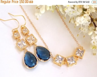 SALE Wedding Jewelry,Navy Blue Set,Montana Blue Earrings and Necklace,Dark Blue,Gold Filled, Bridesmaids Jewelry, Bride Gifts, Drop, Dangle,