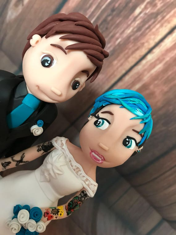 Fully personalised tattoo bride and groom clay Wedding Cake Topper highly detailed and fully sculpted Keepsake - Bespoke Premium Service