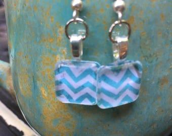 Light blue chevron dangle earrings